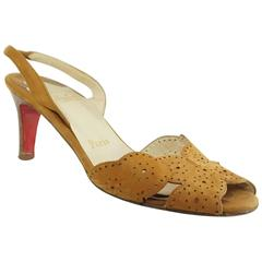 Christian Louboutin Brown Perforated Suede Slingbacks with Wood Heel - 36