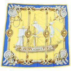 "Hermes Vintage Yellow and Blue ""Tribord"" Ship Print Silk Scarf"