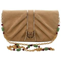 Martin Van Schaak Light Camel Suede Butterfly Clasp and Jewelled Bag, 1960s