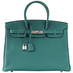 HERMES BIRKIN 35 Bag Malachite Togo Palladium
