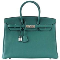 Hermes Birkin 35 Bag Malachite Green Togo Palladium