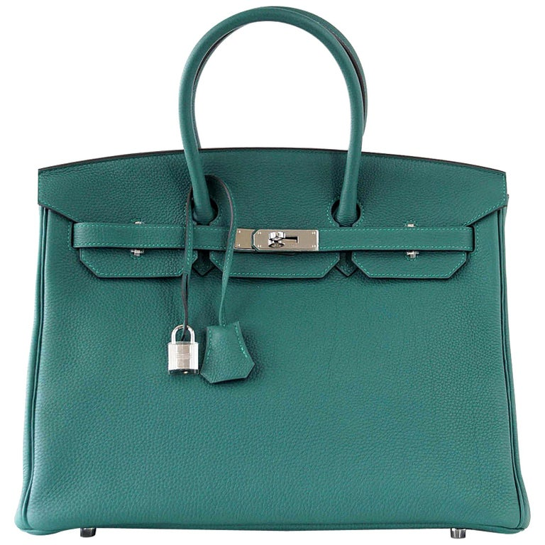 Hermes Birkin 35 Bag Malachite Green Togo Palladium  For Sale