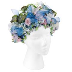 Miss Dior By CHRISTIAN DIOR c.1960's Light Blue Silk Floral Capulet Flower Hat