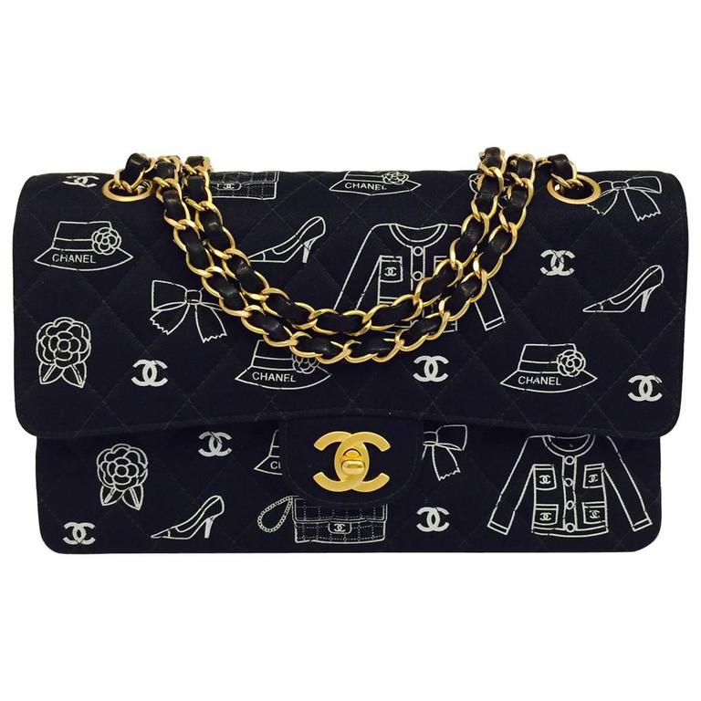 Chanel Fabric Classic 2 55 Flap Bag With Iconic Mademoie Signature Print For