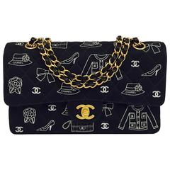Chanel Fabric Classic 2.55 Flap Bag With Iconic Mademoiselle Signature Print