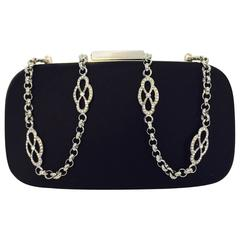 Tiffany & Co. Black Satin Evening Convertible Clutch With Silver Tone Chain