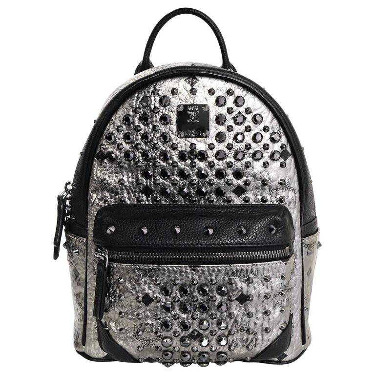 MCM Silver Canvas Monogram Black Crystal Studded Mini Backpack Bag 1