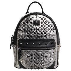 MCM Silver Canvas Monogram Black Crystal Studded Mini Backpack Bag