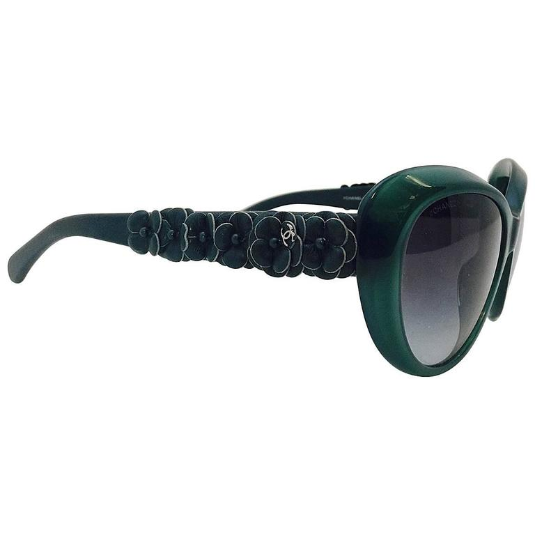 Chanel Hunter Green Camellia Butterfly Sunglasses With Quilted Leather Case
