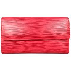 Vintage LOUIS VUITTON Red Epi Leather Rectangular Flap Wallet