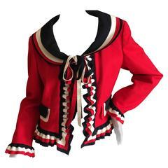 Moschino 1993 Ruffled Red Jacket