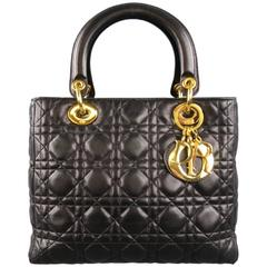 CHRISTIAN DIOR Black & Gold Cannage Quilted Leather Medium Lady Dior Bag