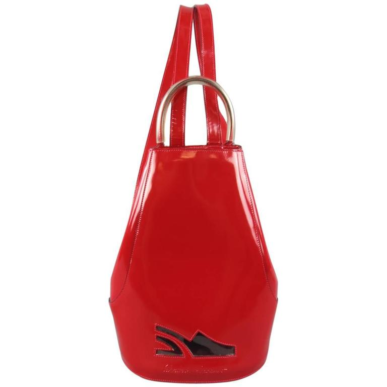 Vintage SALVATORE FERRAGAMO Red Patent Leather Drawstring Bucket Backpack 1