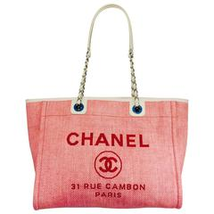 Chanel Pink Deauville Tote Small With Ivory Leather Interwoven Chains 18893473