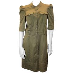 Balenciaga Tan Cotton Buttondown Dress with Pockets