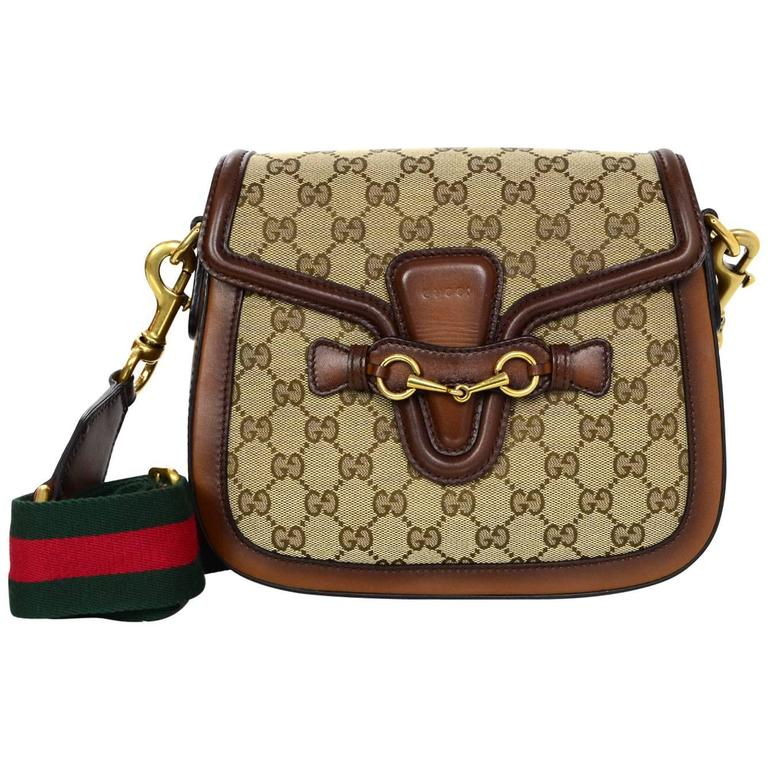 d77c24519468 Gucci Brown Classic GG Monogram Canvas Medium Lady Web Crossbody Bag For  Sale