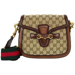Gucci Brown Classic GG Monogram Canvas Medium Lady Web Crossbody Bag