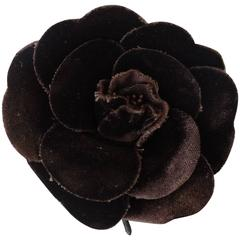 1980s Chanel Camellia Velveteen Brooch Pin