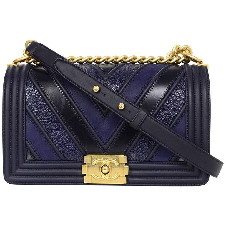 4096c1ad213b Chanel 2016 Navy Mixed Leather Patchwork Chevron Old Medium Boy Bag GHW For  Sale