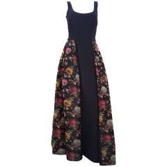 80s Black Abstract Floral Dress