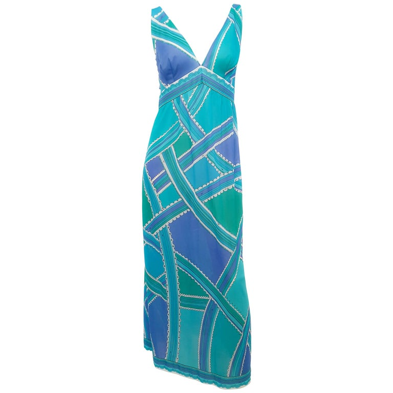 70s Emilio Pucci for Formfit Rodgers Blue/Green Printed Slip/Dress For Sale
