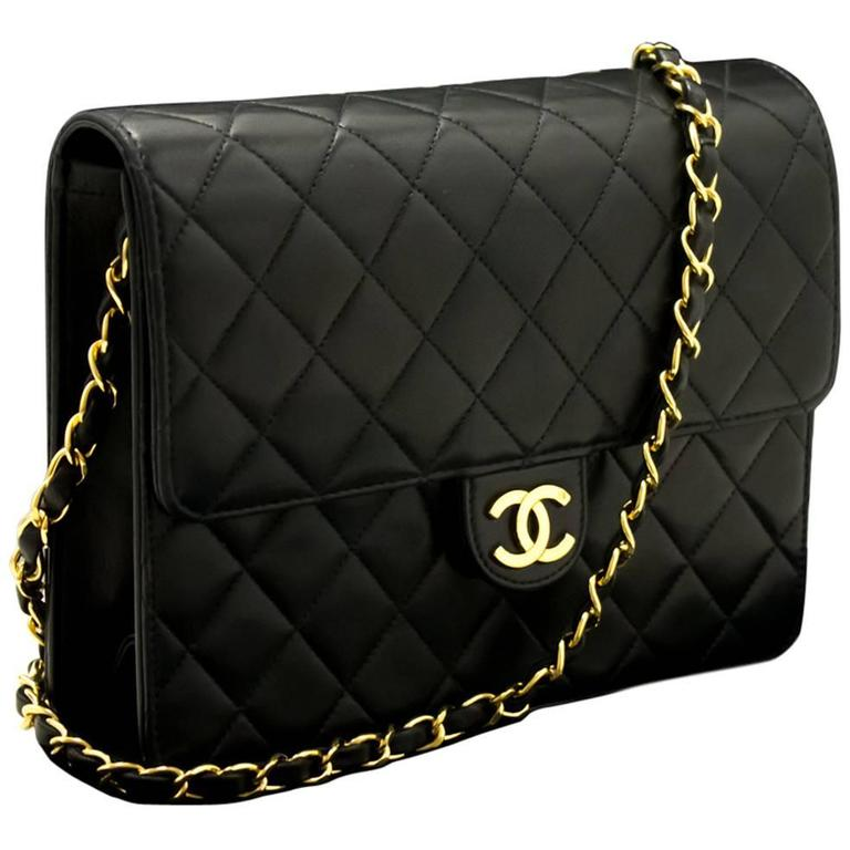 404f6dcfca32 CHANEL Chain Shoulder Bag Clutch Black Quilted Flap Lambskin For Sale