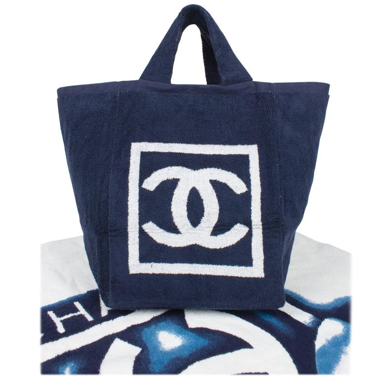 Chanel Beach Bag And Towel Navy Bluewhite Terry Cloth For Sale At