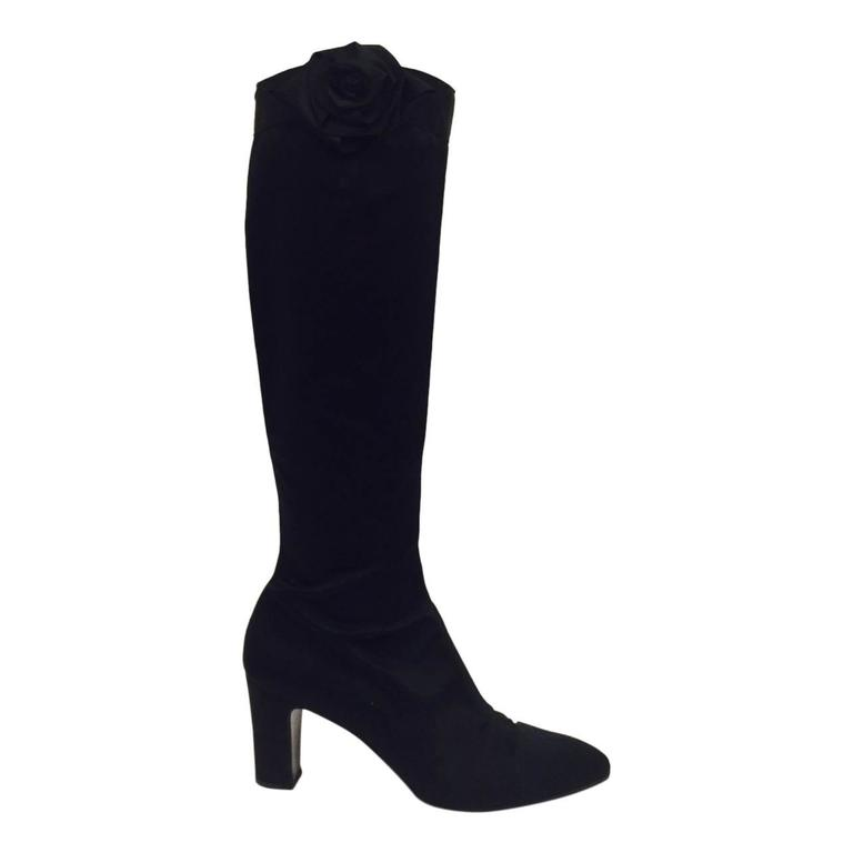 eac5ab1ddab0 Chanel Black Satin Tall Boots With Camellias For Sale at 1stdibs