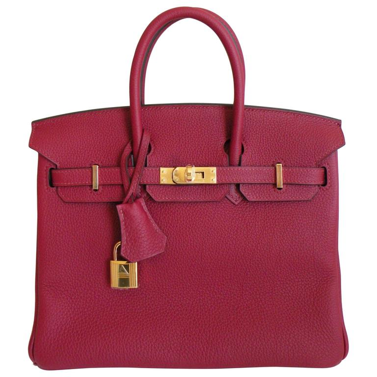 Hermes Birkin Bag 25cm Rouge Grenat Red Togo Gold Hardware 1
