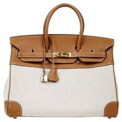 HERMES BIRKIN 35 Bag Rare Toile and Gold Clemence Leather Gold Hardware