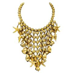 1960s Anonymous Gold Tone Seashell Necklace