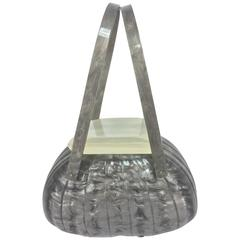 Vintage Llewellyn grey pearlized Lucite double handle handbag 1950s