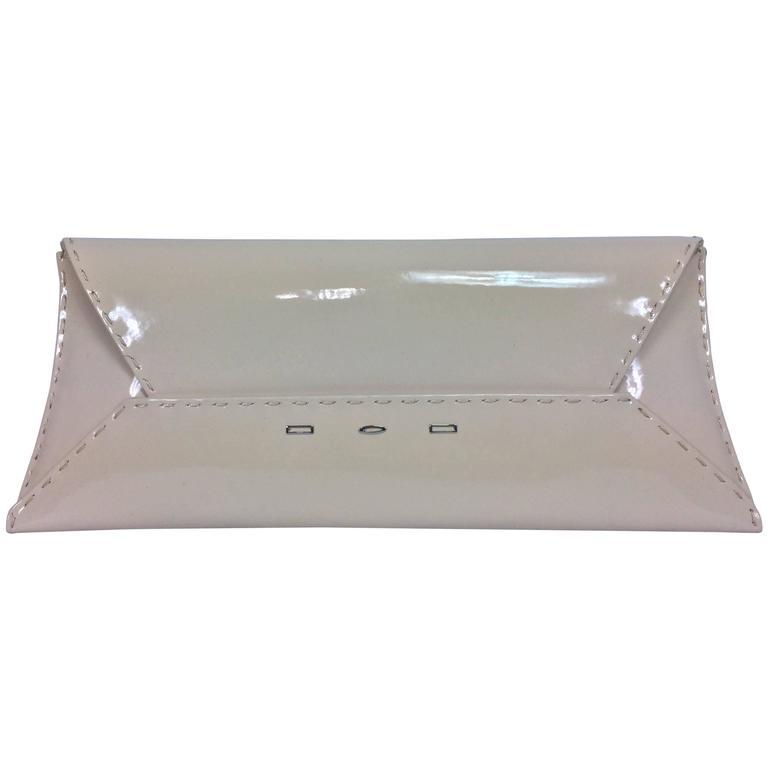 VBH Stretch First Edition cream patent leather clutch handbag