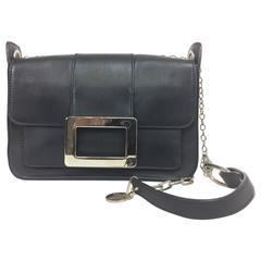 Roger Vivier black flap front leather shoulder bag with silver hardware
