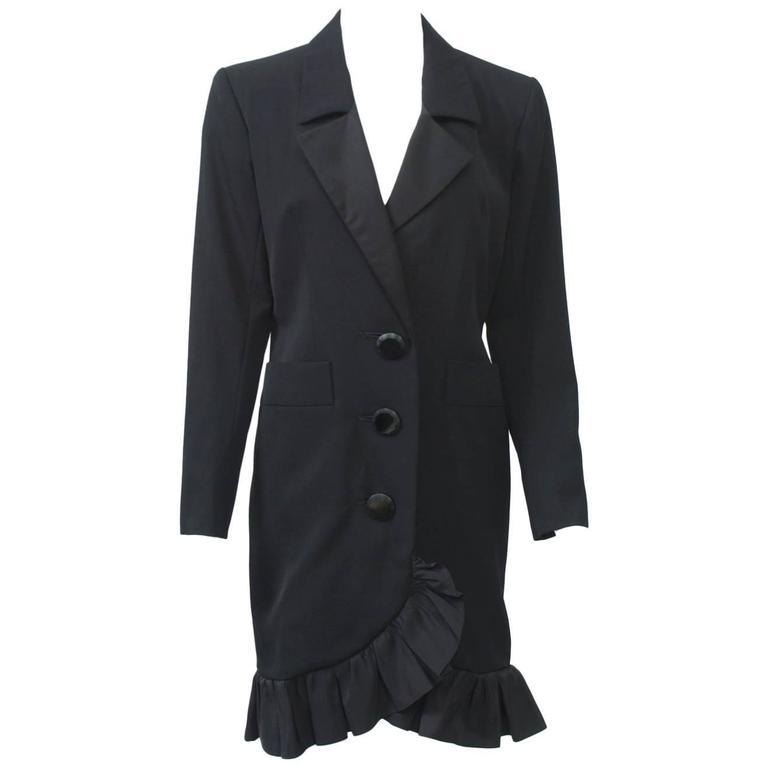 YSL Black Coat Dress with Ruffle