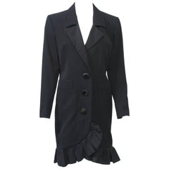 YSL Black Coat Dress with Ruffle