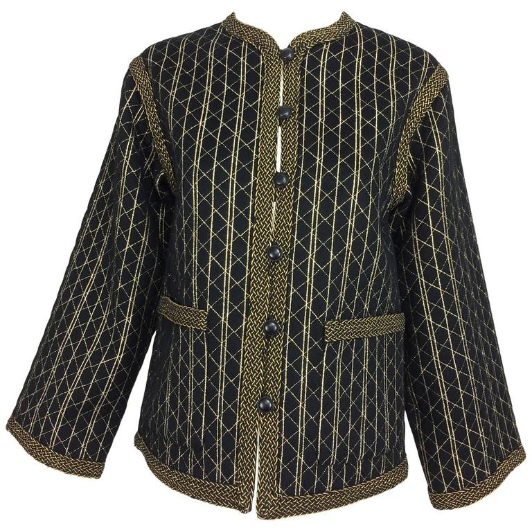 Vintage Yves Saint Laurent black & gold metallic stripe jacket 1970s