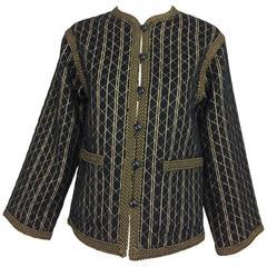 Vintage Yves Saint Laurent black & gold metallic stripe jacket 1970s