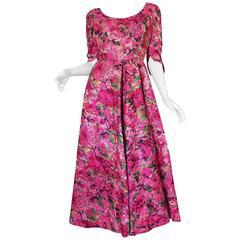 Early 1960s Jean Louis Beautiful Pink Floral Silk Midi Dress