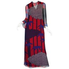 Early 1980s Hanae Mori Bamboo Print Silk Chiffon Dress