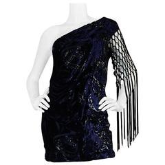 F/W 2010 Peter Dundas for Pucci Fringed Silk Devore Mini Dress
