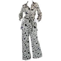 Graphic 1970s Hanae Mori Floral Print Jersey Pant & Top Set