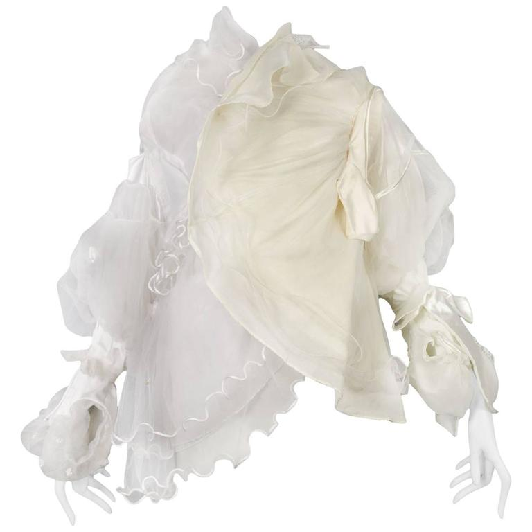 Maison Martin Margiela Artisanal White Tulle Ruffle Jacket For Sale