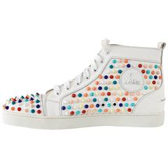 CHRISTIAN LOUBOUTIN White Louis Flat Candy Spikes  43 / 10