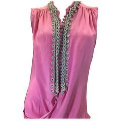 Balenciaga Pink Silk Sleeveless Embellished Blouse