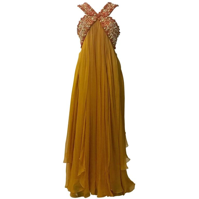 Christian Dior Resort 2009 Runway Marigold Yellow Orange Beaded Chiffon Gown