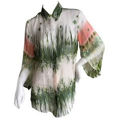 Roberto Cavalli Sheer Lace Trimmed Floral Blouse