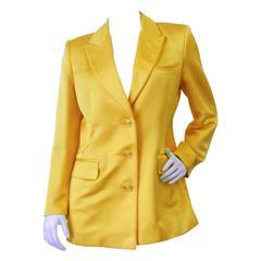 1980s Pam McMahon Couture Satin Yellow Blazer