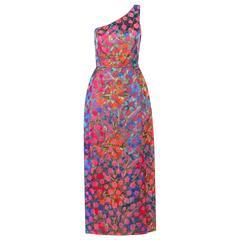 BERGDORF GOODMAN c.1960's Floral Brocade Asymmetrical One Shoulder Evening Dress