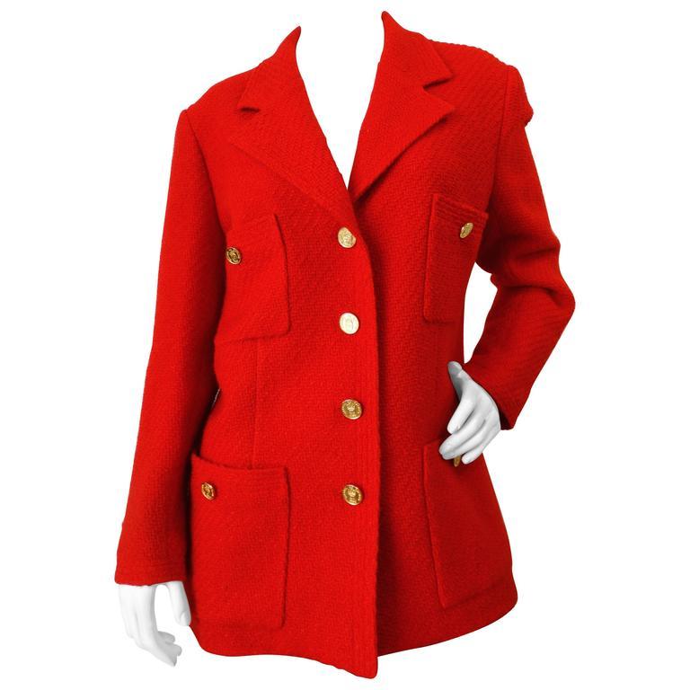 1990s Chanel Lipstick Red Tweed Jacket